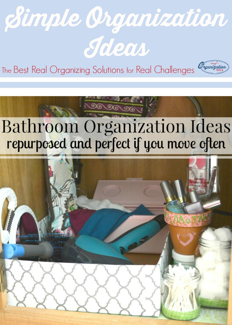 Free bathroom organization ideas you can do today. Earth-friendly ideas that are perfect if you're a military family, move frequently or are on a budget.