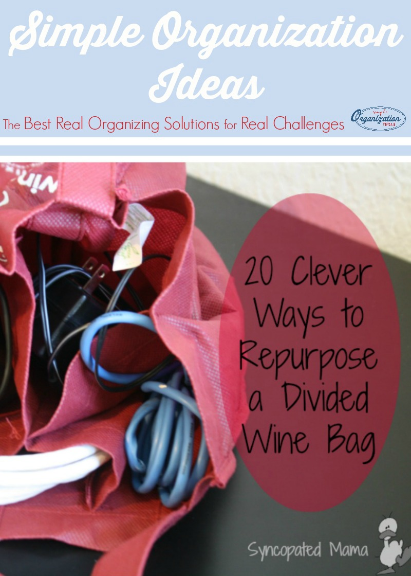 Think those divided wine bags are only good for hauling your bottles home from the store? Think again! Try these 20 tips for using these bags to help organize your life!